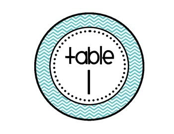 Table - Groups Desks Signs (1-8): Turquoise and Gray Chevron