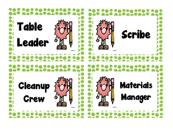 FREEBIE Table Job Labels (Green Polka Dot)