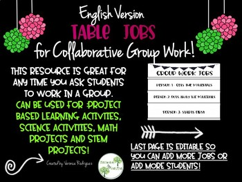 Table Jobs for Collaborative Group Work Editable/ Color/Black & White (English)