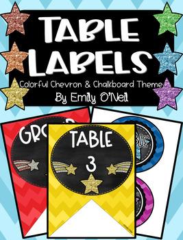 Table Labels (Colorful Chevron & Chalkboard Theme)