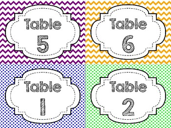 FREE Table Labels- Colorful Chevron or Polka Dot