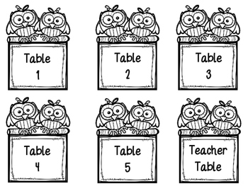 Table Labels- Owl
