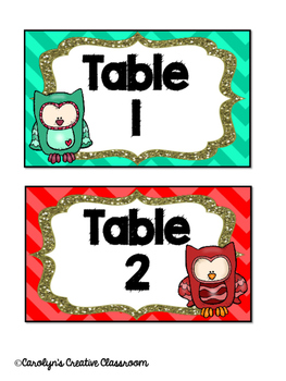 Table Labels - Owl and Chevron Theme