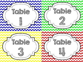 Table Labels - Primary Colors