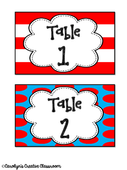 Table Labels- Read Across America Inspired