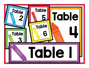 Table Labels & Signs - Colorful Crayons