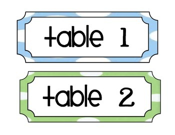Table Labels * Table Signs for tables in the classroom*