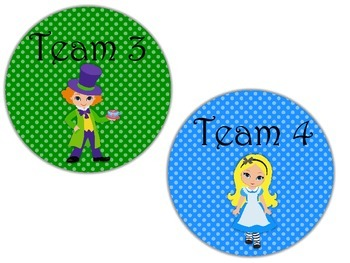 Table Labels Team Labels Alice in Wonderland Theme