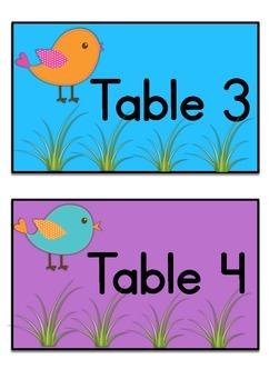 Table Labels Team Labels Boho Birds Theme