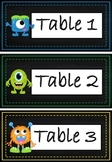 Table Labels Team Labels Chalkboard Monster Theme