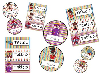 Table Labels Team Labels Circus Theme