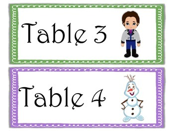 Table Labels Team Labels Frozen Theme