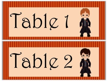 Table Labels Team Labels Harry Potter Theme