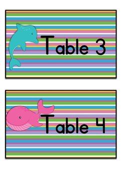 Table Labels Team Labels Ocean Theme