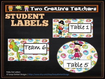 Table Labels Team Labels Pirate Theme