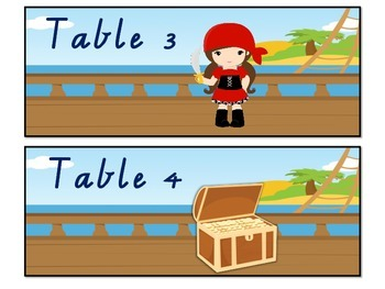 Table Labels Team Labels Pirate Theme 2