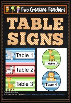 Table Labels Team Labels Safari Theme