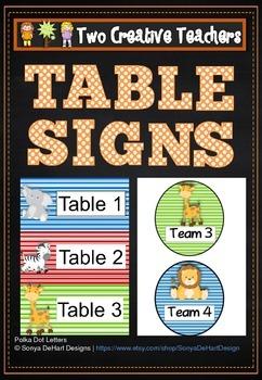 Table Labels Team Labels Safari Theme