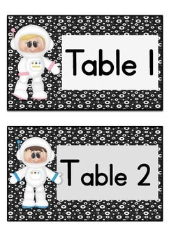 Table Labels Team Labels Space Theme