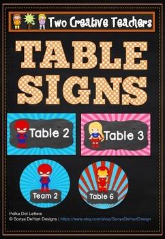Table Labels Team Labels Superhero Theme