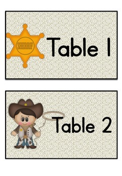 Table Labels Team Labels Western Theme
