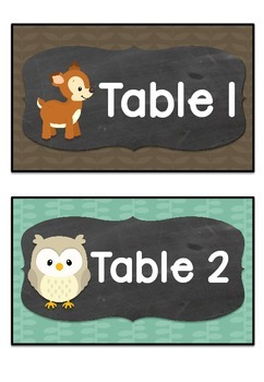 Table Labels Team Labels Woodland Theme