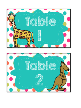 Table Labels - Zoo Animals with Polka Dots (Table Points, Table Baskets)