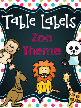 Table Labels - Zoo Animals with Polka Dots (Table Points,