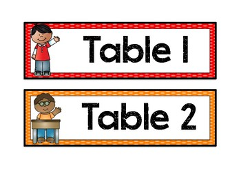 Table Labels and Signs