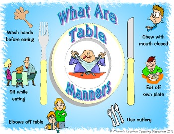 Table manners placemat by marion 39 s creative teaching for 10 good table manners