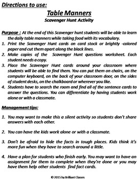 Table Manners Scavenger Hunt