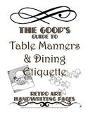 Etiquette:  Table and Party Manners Handwriting/Coloring Pages
