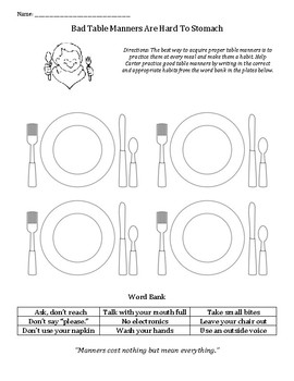 Table Manners: table talk, respectful, appropriate, habits, eating