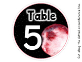 Table Number Circles - Space Galaxy Theme - Classroom Decor