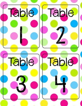 Table Number Label Printables