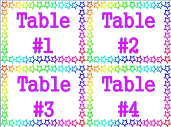 Stars Theme - Table Number Labels