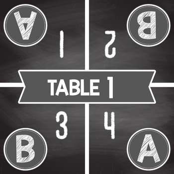 Table Label Number Mats  Chalk Style