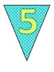 Table Number Pennants (Bright Blue Chevron/Polka Dots and Lime)