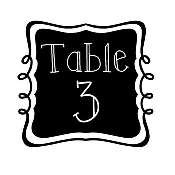 Table Number Signs - Black