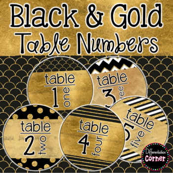 Table Number Signs Black and Gold Classroom Decor