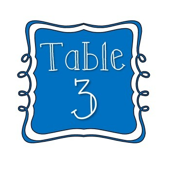 Table Number Signs - Blue