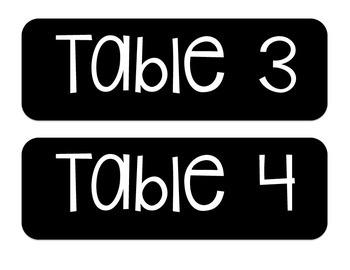 Table Number Signs FREEBIE