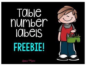 Table Number Signs FREEBIE!