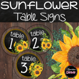 Table Number Signs Farmhouse Sunflower