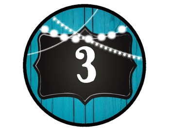 Table Number Signs / Labels (RUSTIC BLUE WOOD)