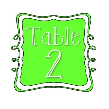 Table Number Signs - Lime Green