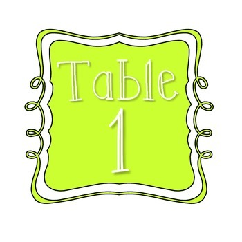 Table Number Signs - Neon/Fluorescent Green