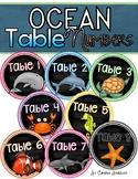 Table Numbers Signs Ocean Underwater Theme