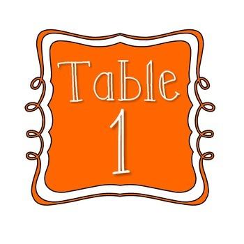 Table Number Signs - Orange