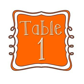 Table Number Signs - Orange